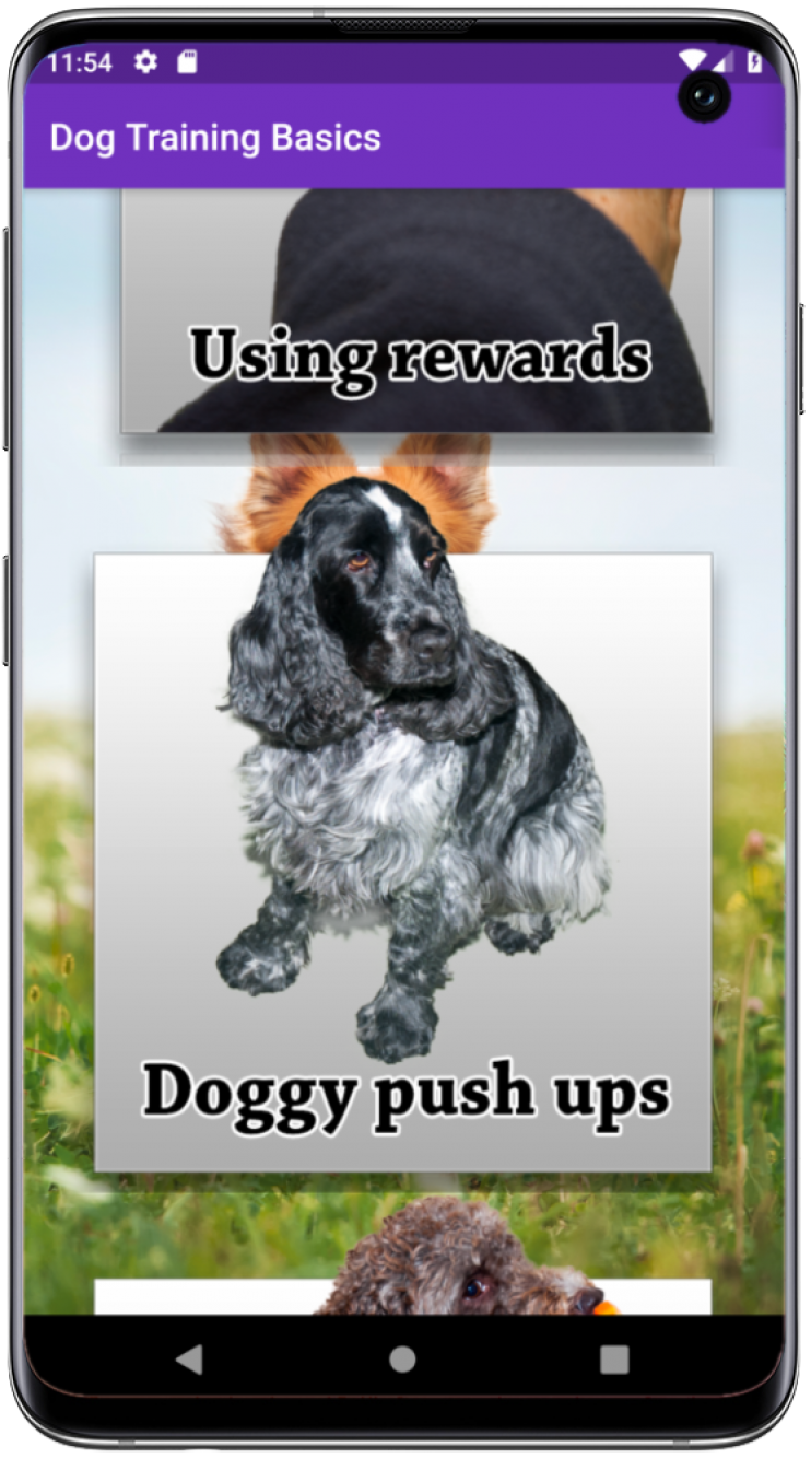 Friendly Dog App running on an Android phone