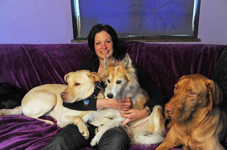 Kate with her dogs